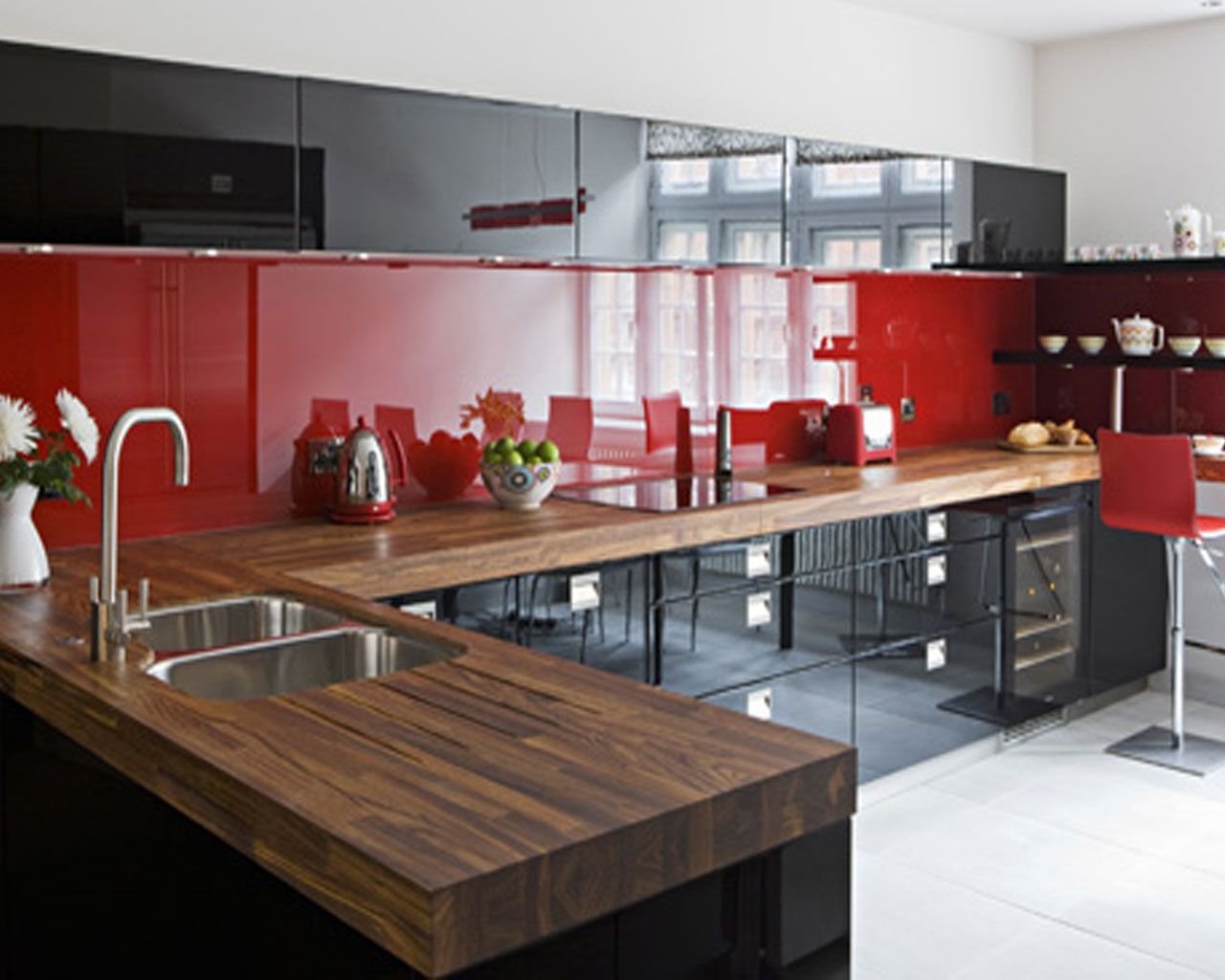 dark kitchen with red backsplash ideas