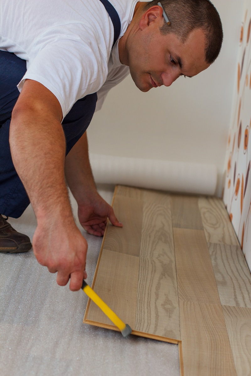 Laminate tile flooring installation