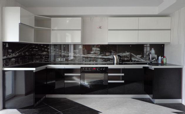 Дизайн черно белый кухни