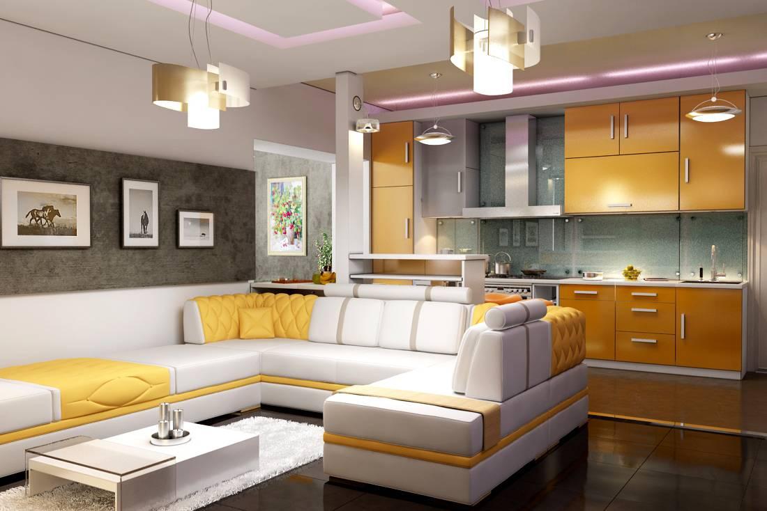 Дизайн студия кухни идея