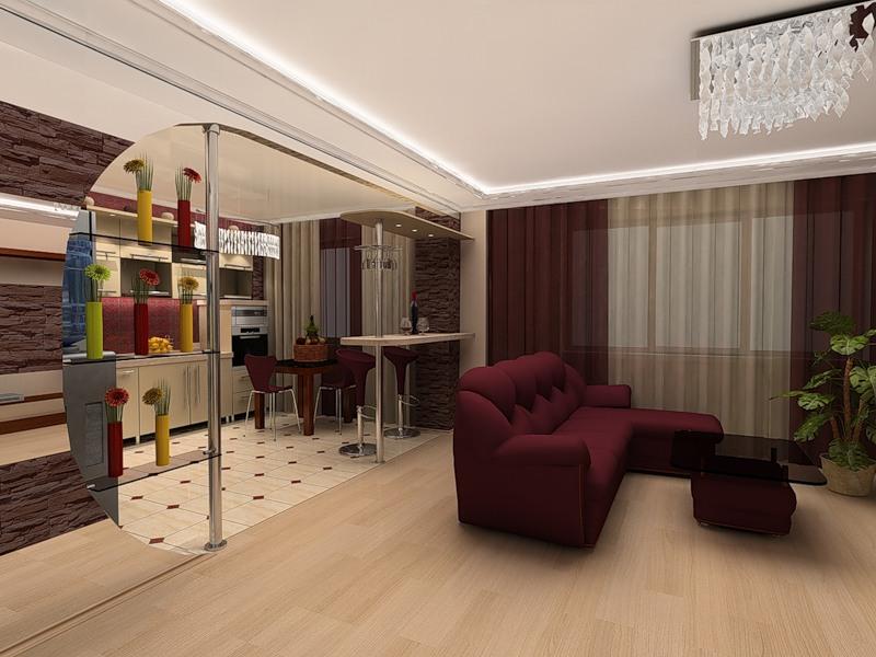 Дизайн функциональной кухни-гостиной