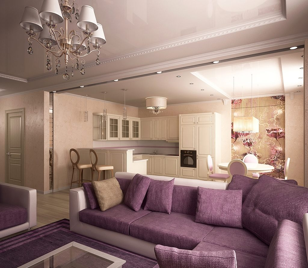 Дизайн гостиной в бежево-сиреневых тонах